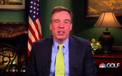 U.S. Senator Mark Warner congratulates Victoria Matthews