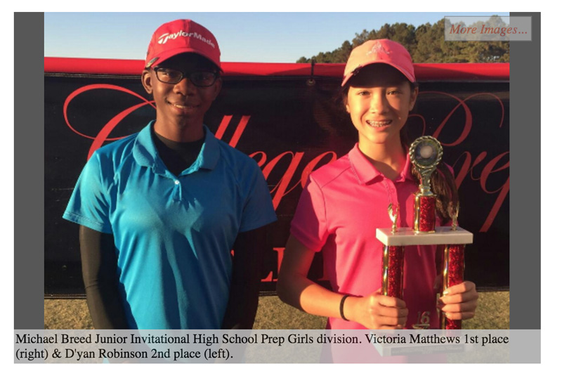 6th Grader Victoria Matthews finishes #1 rank for 2016 College Prep Golf Tour for High School Prep Division.