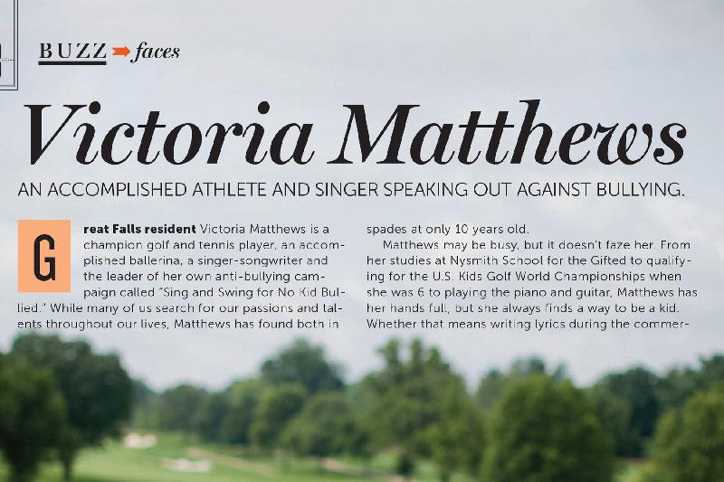 Victoria Matthews Featured in Northern Virginia Magazine: Buzz/Faces